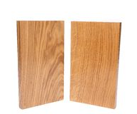Two vertical boards (acacia, oak). On a white background Royalty Free Stock Photo