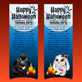 Two vertical cards with evil crow and hare Royalty Free Stock Photography