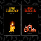 Two vertical cards for Halloween. Candles and pumpkin Royalty Free Stock Photos