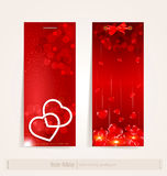 Two vertical festive banner with hearts. The two vertical festive banner with hearts Royalty Free Stock Images