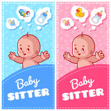Two vertical flyer of babysitter with cute toddler and baby toys. Two vertical orientation banner template. Vector illustration isolated on white background Royalty Free Stock Photography