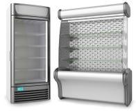 Two vertical freezer refrigeration showcase. Isolated on white background Stock Images