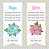Two vertical invitations for boys and girls Royalty Free Stock Images