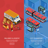 Two Vertical Isometric Transport Banners Royalty Free Stock Images