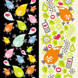 Two vertical patterns with mobile phones. Two vertical seamless patterns with birds and mobile phones. Vector illustration Royalty Free Stock Photography