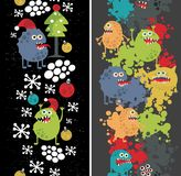 Two vertical seamless patterns with monsters. Royalty Free Stock Photography