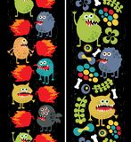 Two vertical seamless patterns with monsters. Royalty Free Stock Photo