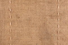 The two vertical stitching on the burlap Stock Photo