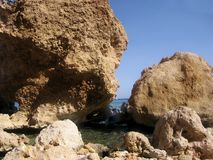 Two very big stone on the beach Red sea Stock Photography