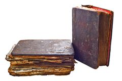 Two very old books on white Royalty Free Stock Image