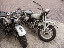 Two Very Old Harley Davidson Motorcycles On Old Street Royalty Free Stock Image