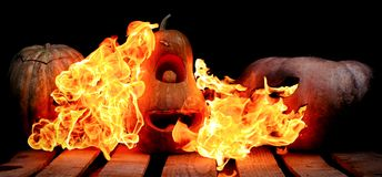 Two Very scary and dangerous Halloween pumpkins, with a terrible royalty free stock image