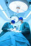 Two veterinarian doctor working in operating room take with art lighting and blue filter Royalty Free Stock Photo