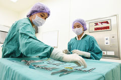 Two veterinarian surgeons in operating room Stock Photos