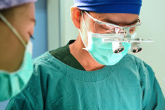 Two of veterinarian surgery in operation room Royalty Free Stock Photo