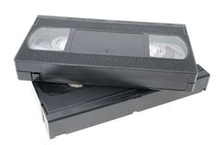 Two VHS video tape cassette videocassette Stock Photo