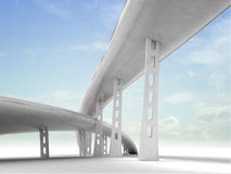 Two viaduct motorways with sky background Royalty Free Stock Image