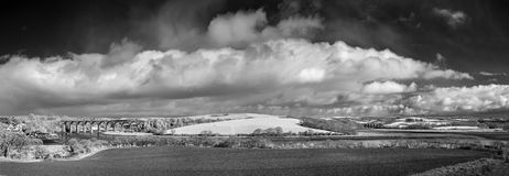 Two Viaducts over the rivers Tiddy and Lyner, St Germans, Cornwall, UK. Panoramic black and white photograph of two Viaducts over the rivers Tiddy and Lyner, St stock photo