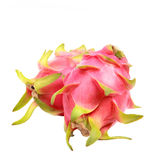 Two of vibrant dragon fruit isolated white background Royalty Free Stock Image