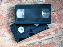 Two video cassette close-up Stock Photos
