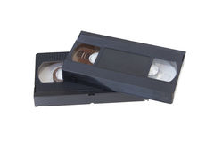 Two video cassettes. Lie on each other Royalty Free Stock Photography