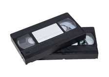 Two videos. Two videocassette close-up on a white background. old, record sound and images Stock Image