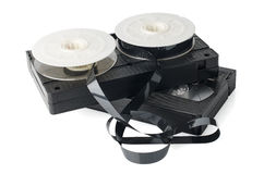 Two videotapes and reel Royalty Free Stock Images