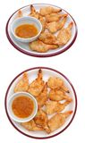 Two view of coconut shrimp dish Stock Images