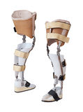 Two view of the prosthetic leg Stock Photo