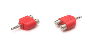 Two views audio input & output plug Royalty Free Stock Image