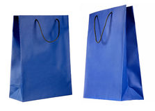 Two views of blue paper bag Royalty Free Stock Image