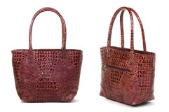 Two views of brown women bag Royalty Free Stock Image