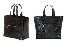 Two views of dark brown women bag Royalty Free Stock Photography