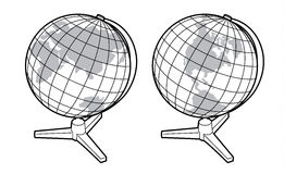 Two views of the earth globe Stock Images