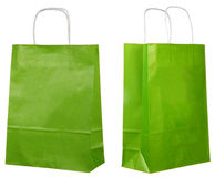 Two views of a green paper bags Royalty Free Stock Image