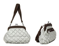 Two views of grey women bag Royalty Free Stock Images