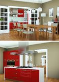 Two views of modern red kitchen Interior design. 3d Illustration Stock Images