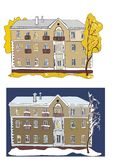 Two views of old building: in autumn and in winter stock photography