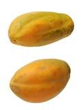 Two views of papaya Royalty Free Stock Images