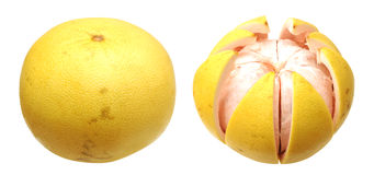 Two views of pomelo Royalty Free Stock Image
