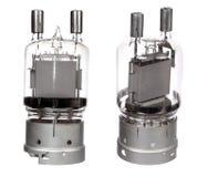 Two views of vacuum electronic radio tubes Stock Photos
