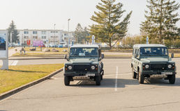 Two vigipirate military Land Rover jeep parked in the Entzheim A Stock Images