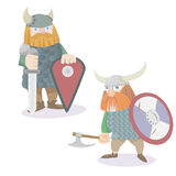 Two viking warriors vector flat style illustration Stock Images