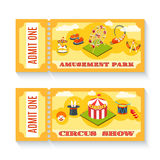 Two vintage amusement park tickets set Stock Photography