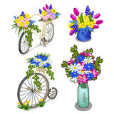 Two vintage bikes and bright bouquets of flowers. Festive composition on white background. Set for your design needs. Vector illustration Stock Photo