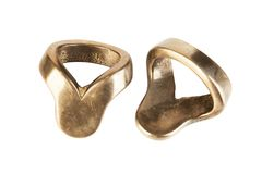 Two vintage brass rings for napkins on white Royalty Free Stock Photography