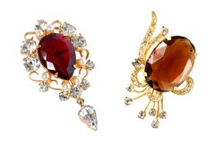 Two vintage brooches Stock Image
