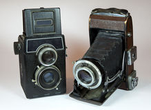 Two vintage cameras Royalty Free Stock Photography