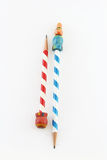 Two vintage candy striped pencils. Isolated on white Royalty Free Stock Image
