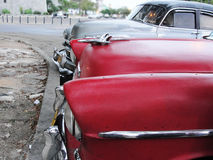 Two 1950s Vintage Cars Parked Stock Images